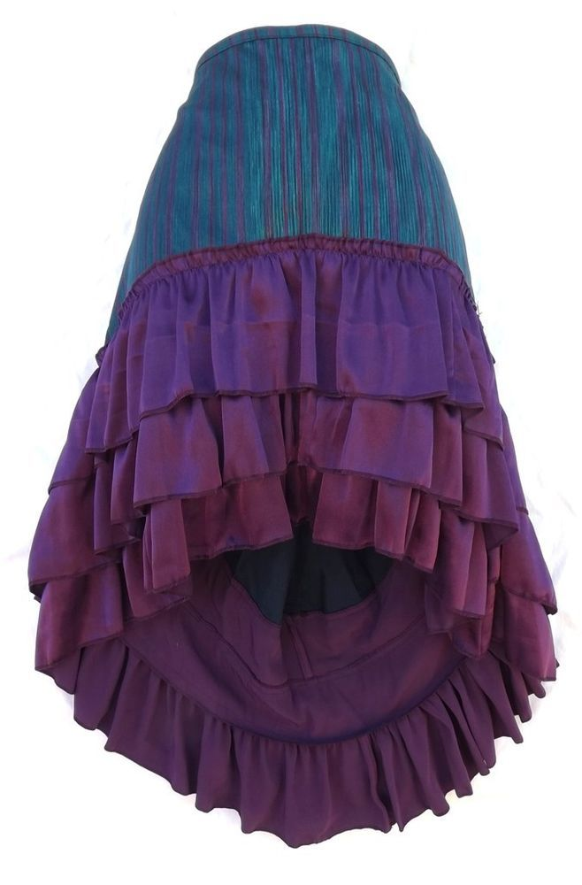 Steampunk Victorian Renaissance Pirate Costume Teal Purple Striped Ruffle Skirt #Kashi #Skirt