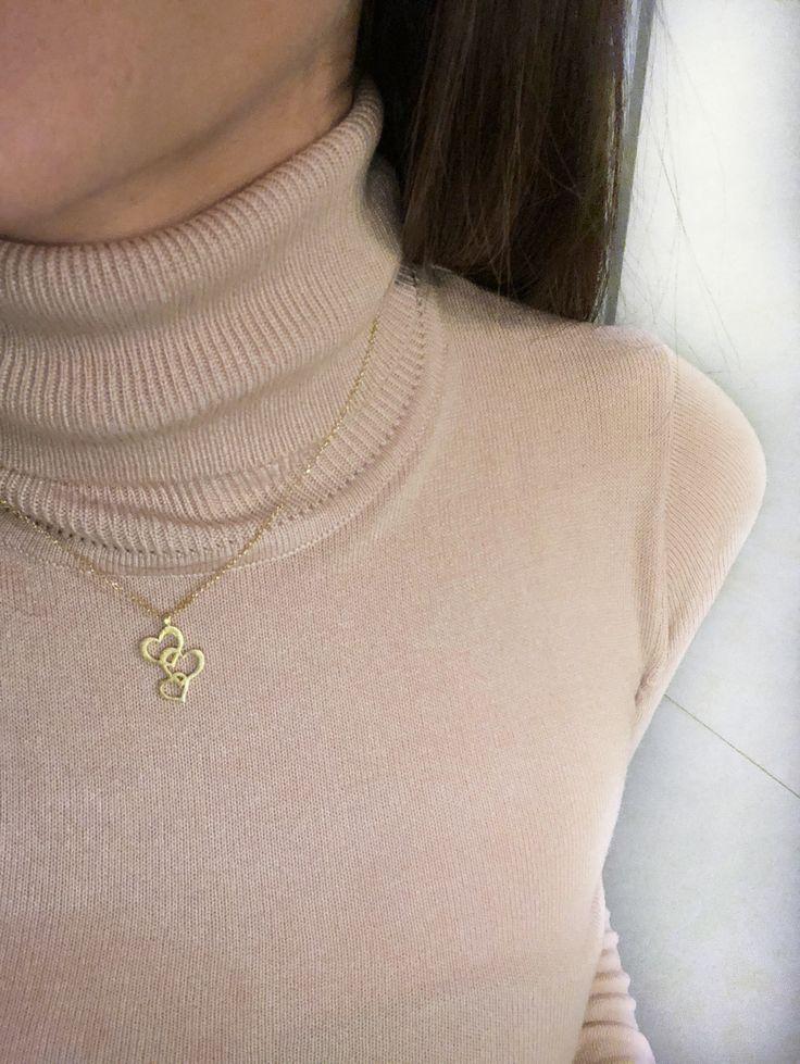 Triple heart necklace by www.goldentiara.gr