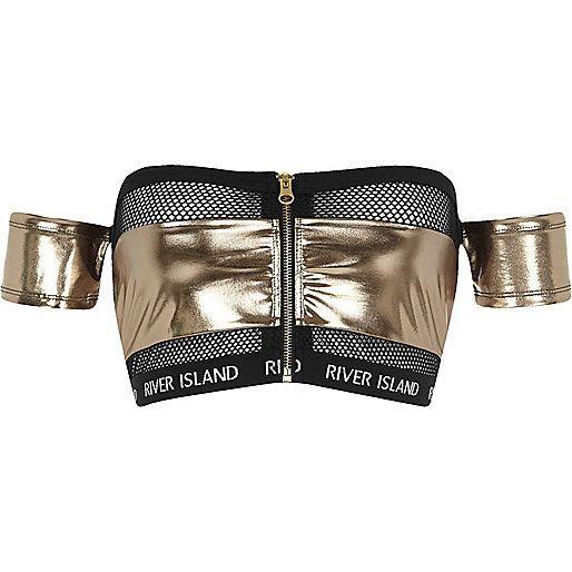 Silver mesh insert bardot bikini top - bikini tops - bikinis - swimwear / beachwear - women