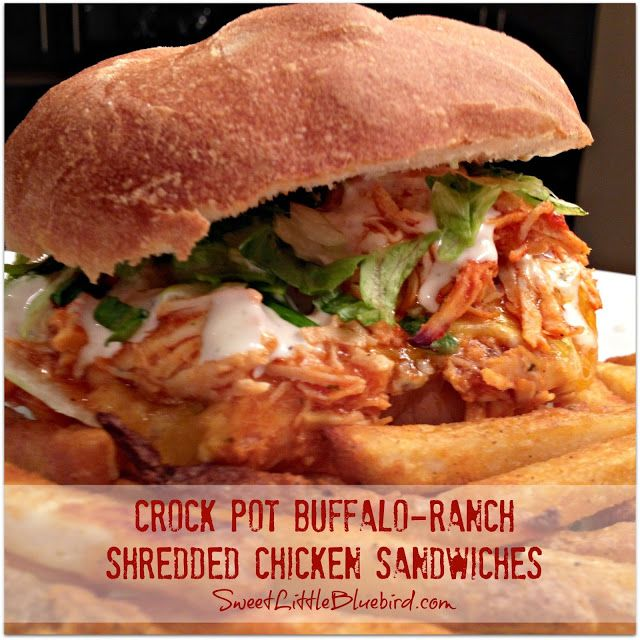 CROCK POT BUFFALO-RANCH SHREDDED CHICKEN SANDWICHES |  SweetLittleBluebird.com