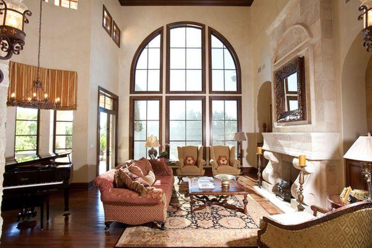 Mediterranean Home Decor with tall windows