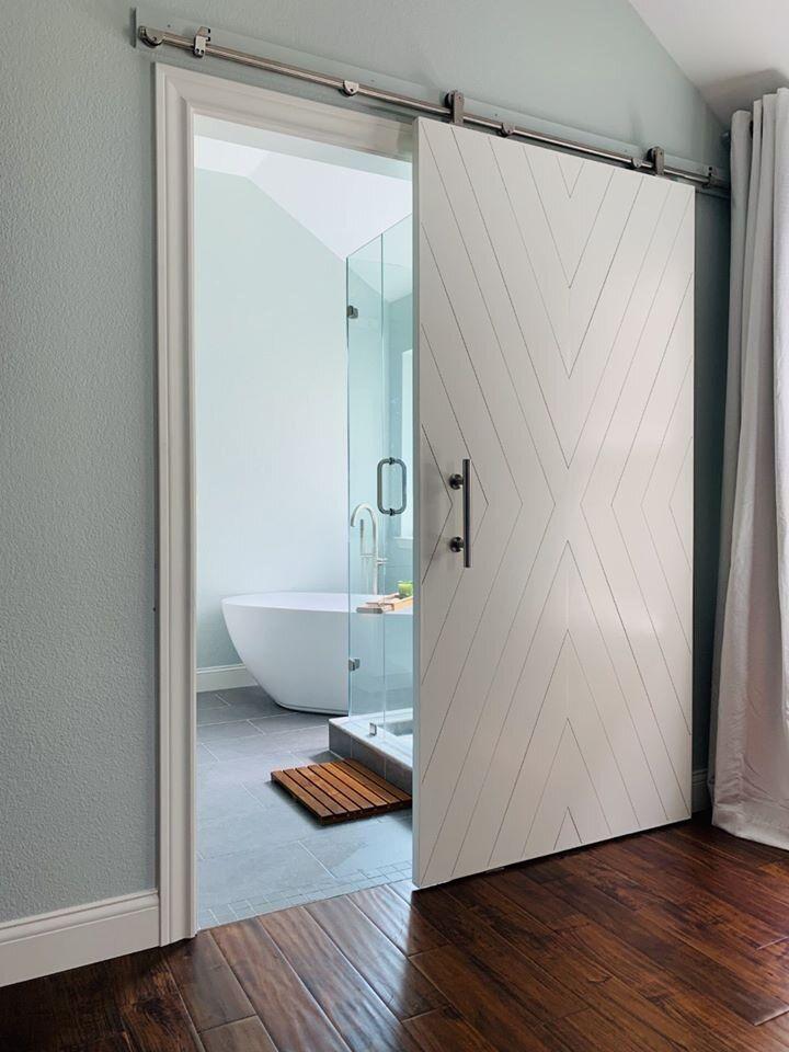 Painted Barn Doors Cavie Co In 2020 Modern Barn Door Bathroom Remodel Master Barn Door