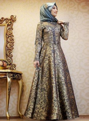 Matmazel Evening Dress - Khaki - Gamze Polat