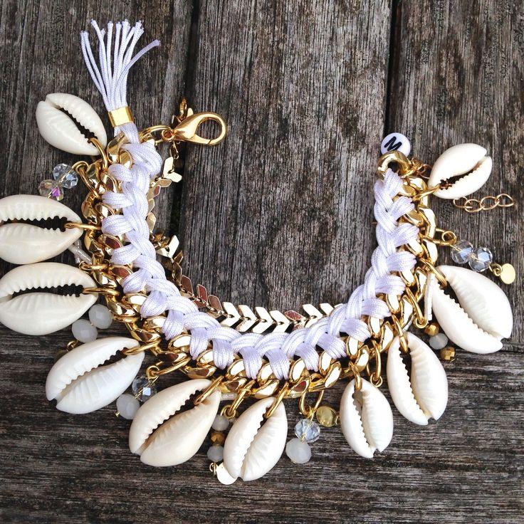 SEASIDE // NOHOLITA PERLES Blanc - Coquillage et perles de verre : Bracelet par maridou-bracelets
