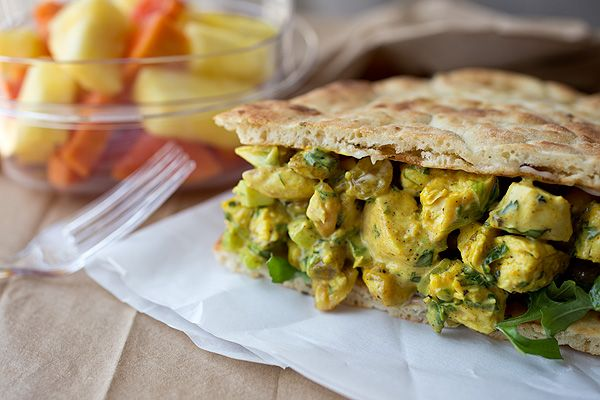 Sweet & Lightly Spicy Curried Chicken Salad Sandwich with Roasted Cashews and Golden Raisins, on Toasted Tandoori Naan