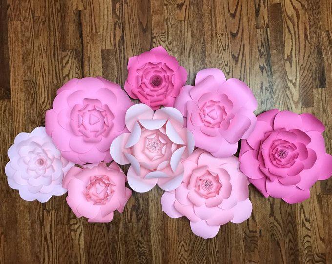 Flores de papel de pared grande ~ fondo de flor de papel ~ decoración de flores de papel ~ vivero de ducha de la boda decoración