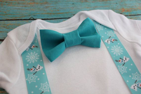 Frozen Olaf Baby Boy Clothes Bowtie Suspender Bow by JpszDesigns