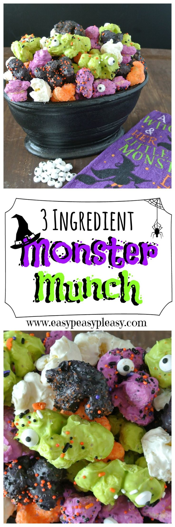 Monster munch: Popcorn gets coated with candy melts and sprinkles in this colorful Halloween snack.