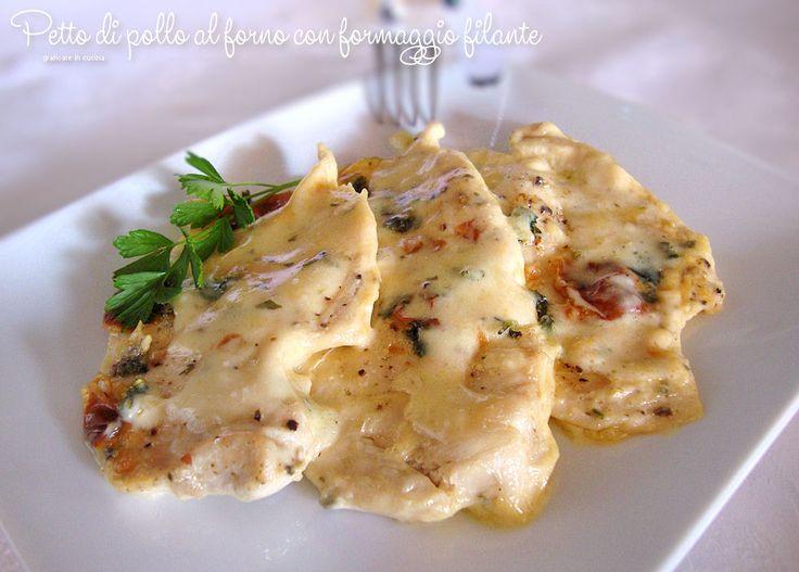 Petto di pollo al forno con formaggio filante