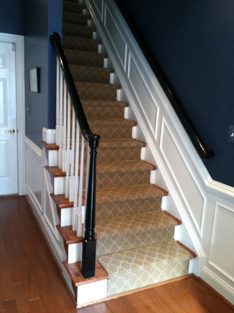 This Wool Axminster Carpet Runner With Moroccan Trellis Pattern Is Accented  By The Brass Stair Rods