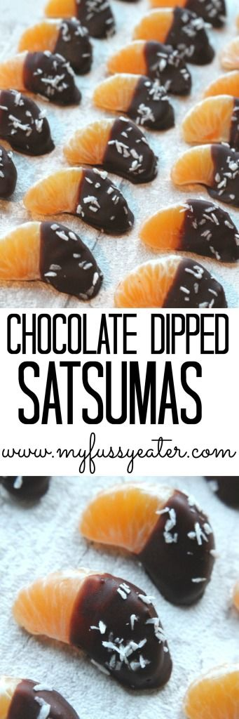 Satsumas dipped in dark chocolate and coconut oil and sprinkled with desiccated coconut. A healthy, low sugar New Year's Eve appetizer for kids and adults alike!