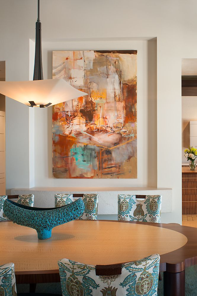 Modern art dining room. /Janet Brooks Design (those chairs are a bit busy and distracting...)