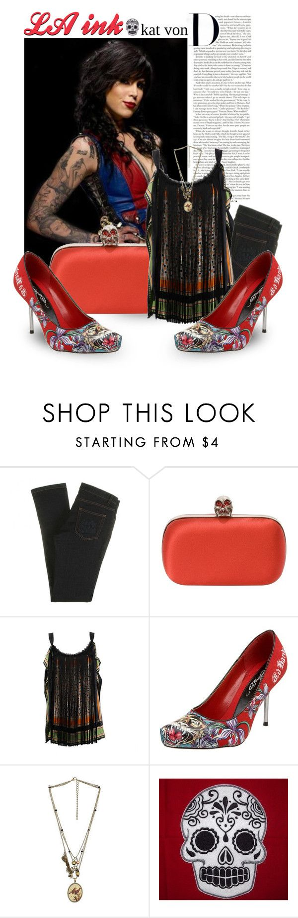 """""""LA ink"""" by tabithasue ❤ liked on Polyvore featuring See by Chloé, Kat Von D, Ed Hardy and Cameo"""