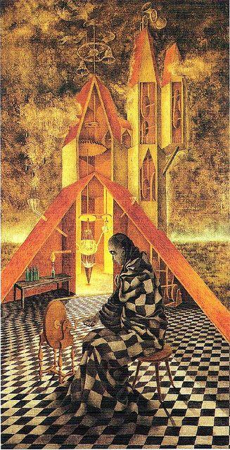 1955. Oleo/masonite, 105 X 93cm Useless science or The alchemist (Mechanical labyrinth). Remedios Varo.