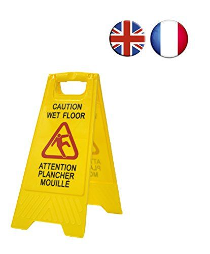 Panneau d'avertissement sol humide « Caution wet floor – Attention plancher mouillé ». En anglais et en français. Haute visibilité pour…