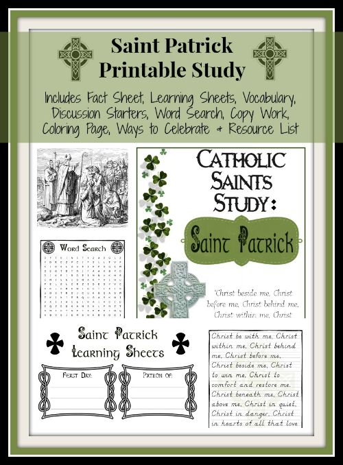 Ready to study Saint Patrick in your Catholic homeschool? Don't miss this printable unit study.