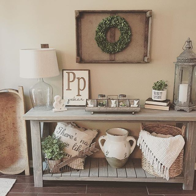 Sharing this pic of my console table my hubby built for #moveitupmonday hosted by @smalltowngirllife !  Still trying to decide what I'm going to put on the very large wall above it!  Any ideas?  Deanna @restylemeprettie I want to see that beautiful new farmhouse table your husband just built. #beautifullybuiltmonday #makersgonnamakemonday #multigrammonday
