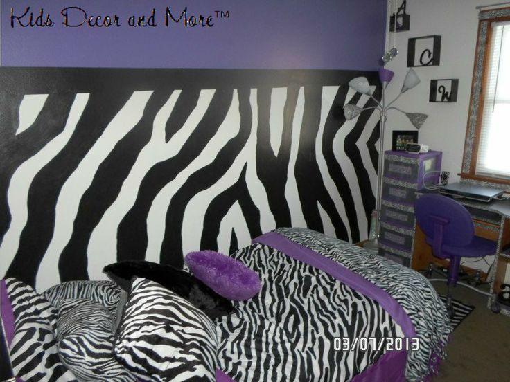 Zebra bedroom girls tween purple custom wall mural design for Diy room decor zebra