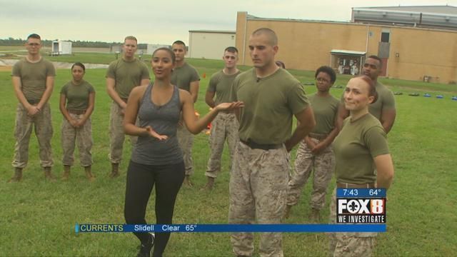 Kristi Coleman works out at the Naval Air Station Joint Reserve Base New Orleans with the Marines from MAG 49 Detachment C.
