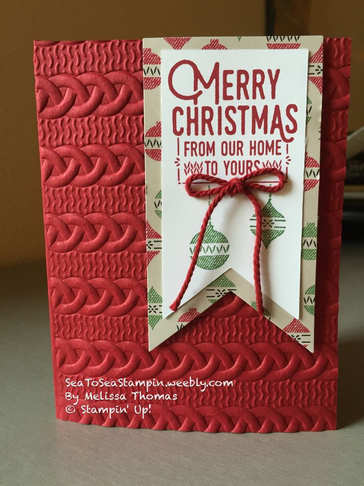 Warmth & Cheer Stampin' Up! Card with Cable Knit Embossing folder