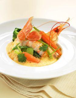 Spicy of langoustine and crisp seasonal vegetables soup
