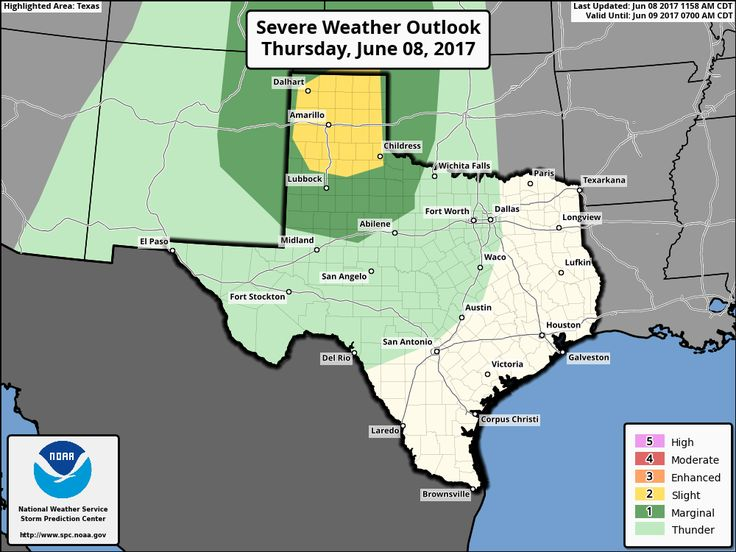 "The Storm Prediction Center has upgraded the Texas Panhandle to the 'standard' level 2 risk of severe weather for the late afternoon and evening hours. A level 1 ""marginal"" risk of severe weather includes Northwest Texas, West Texas, and the Big Country. There are five levels in the severe weather risk scale - one being the lowest and five being the highest. A level two is the 'standard' risk level for most severe weather days. The risk timeframe will generally be from about"