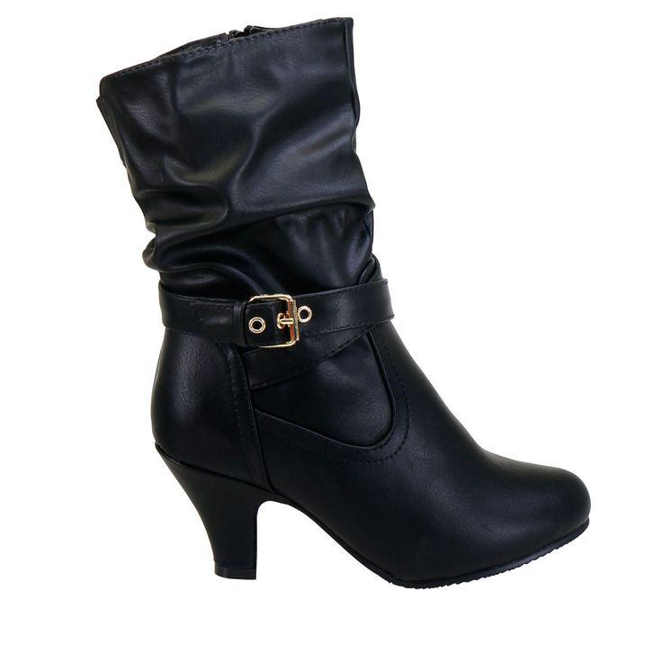 Kale-11 Black Buckle Detail Ankle High Short Heel Boots