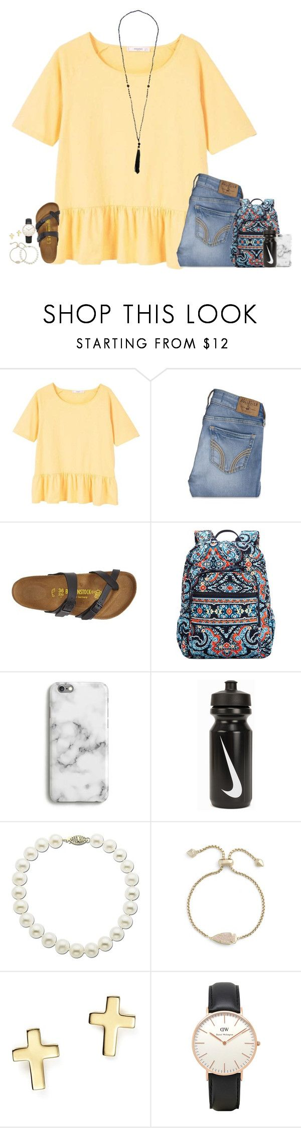 """""""first day of high school was """" by secfashion13 ❤ liked on Polyvore featuring MANGO, Hollister Co., Birkenstock, Vera Bradley, Harper & Blake, NIKE, Lord & Taylor, Kendra Scott, Bloomingdale's and Topshop"""