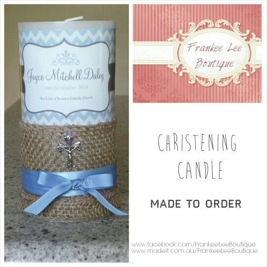 Christening baptism candles available all sizes and styles.  Enquire within @  www.facebook.com/FrankeeLeeBoutique www.madeit.com.au/FrankeeLeeBoutique #madeit #frankeeleeboutique #handmade #unique #custommade #christening #candle #embellished #boys #girls