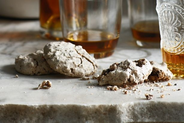 Brutti Ma Buoni biscuits- dark chocolate, hazelnuts, egg whites & sugar. Would be great served with coffee & teas. I would suggest flavored teas with this, or herbals. Might be weird with fruit teas. Unless you serve with a bowl of raspberries or whatnot on the side, that would be delicious!