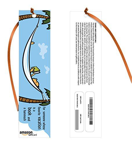 Amazon.in Gift Card - Gift a book   Bookmarks - Vacation - Rs.2000    Amazon.in Gift Card - Gift a book   Bookmarks - Vacation - Rs.2000 INR 2000.00 View Details   Good and affordable.   By  Amazon Customer - See all my reviews  Verified Purchase(What is this?)  This review is from: Amazon.in Gift Card - Gift a book   Bookmarks - Vacation (Paper Gift Certificate)  A very good option for gifting someone... Especially it enhances the value when gifted with a book. The only backdrop is the…