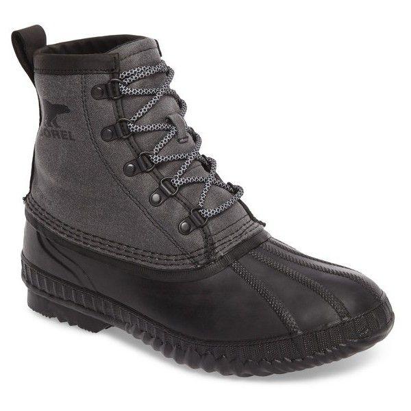 Men's Sorel Cheyanne Ii Short Waterproof Boot (860 CNY) ❤ liked on Polyvore featuring men's fashion, men's shoes, men's boots, black, sorel mens boots, mens water proof boots, mens waterproof shoes, mens rugged boots and mens waterproof boots