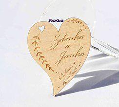 Darčeky pre svadobčanov - Minisrdiečko s magnetkou vzadu - Ďakujeme 2H - Akciová cena - 7191220_