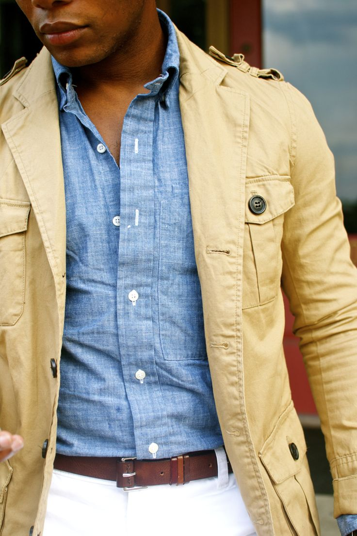Blue Chambray Shirt And Butter Coloured Linen Safari Jacket Men 39 S Spring Summer Fashion