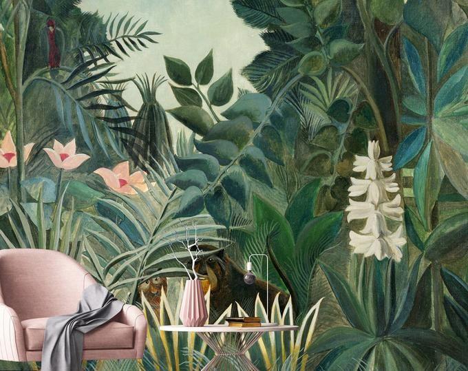 Jungle Frorest Trees Scenic Wall Mural,Living Room Bedroom Wallpaper Wall Murals Tropical Rainforest Wallpaper Wall Mural
