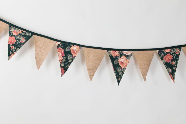 Banderines vintage arpillera y tela de tapicer a retro - Guirnaldas de tela ...