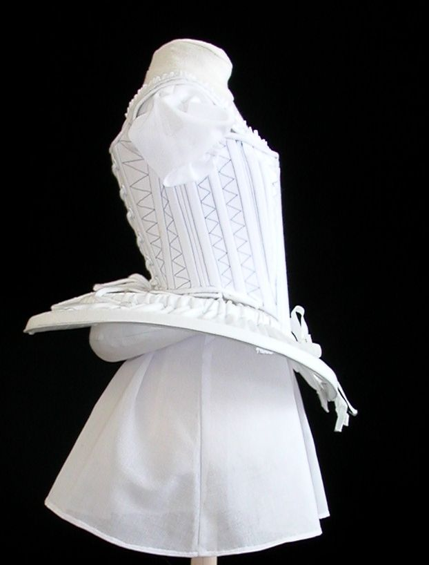 "Wheel Farthingale-""Wheel Farthingale"" (also known as an ""Elizabethan Farthingale"", ""Drum Farthingale"" or ""French Farthingale) is a later style of Farthingale than the ""Spanish Farthingale"" and was worn by Queen Elizabeth I in her later days.-Petticoats and Bum Pads"