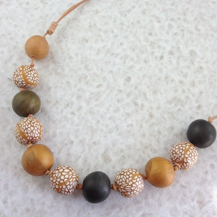 Snakeskin Effect Clay Beads Necklace