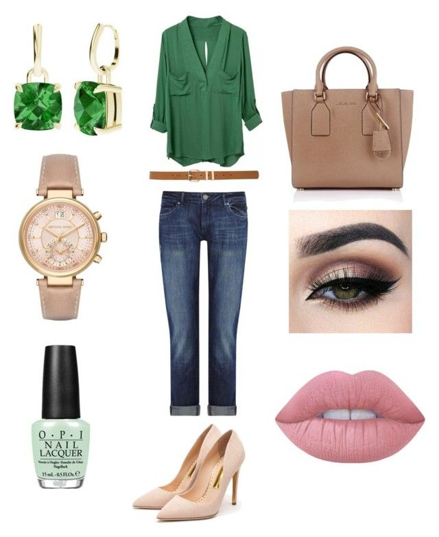 Casual work outfit by ncita-willey on Polyvore featuring polyvore, fashion, style, DL1961 Premium Denim, Rupert Sanderson, Michael Kors, StyleRocks, M&Co, Lime Crime, OPI and clothing