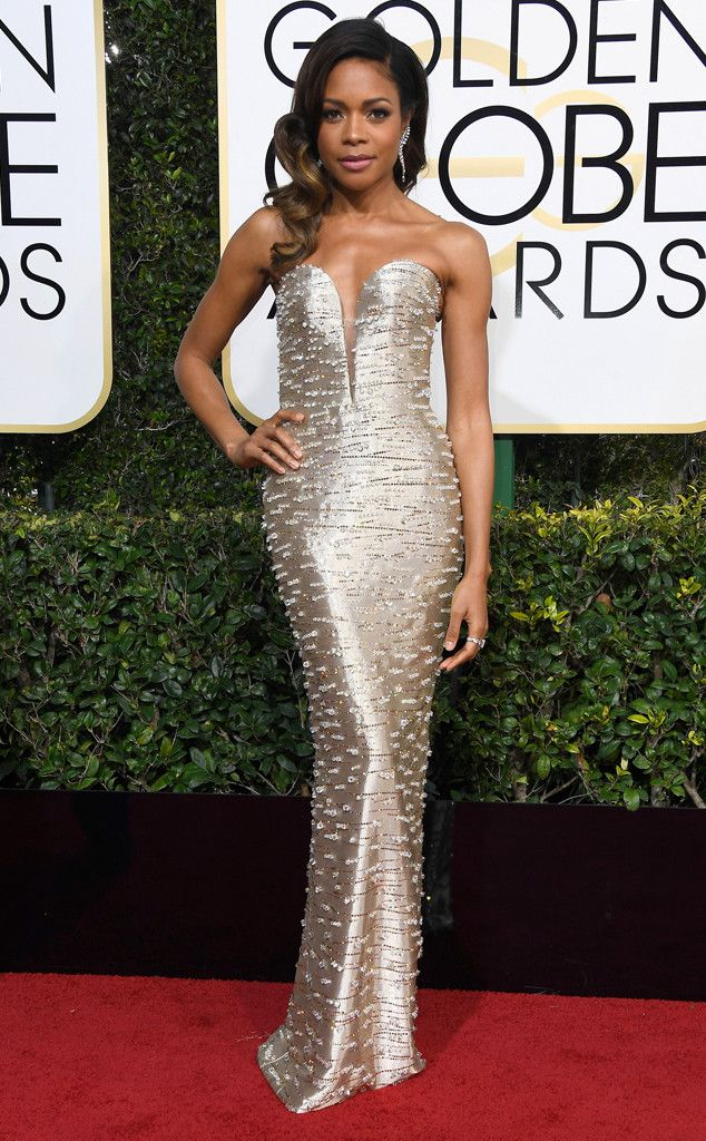 2017 Golden Globes: Naomie Harris is wearing a silver embellished Armani Prive fitted column gown. Naomie shines bright like a diamond!