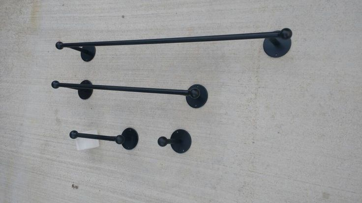 Towel Bar SET of 3 pieces , Wrought Iron Rustic Towel Bar set, Iron Bathroom towel Bar, Iron toilet paper Holder, Small Bathrobe Hook by AdyEscalante on Etsy