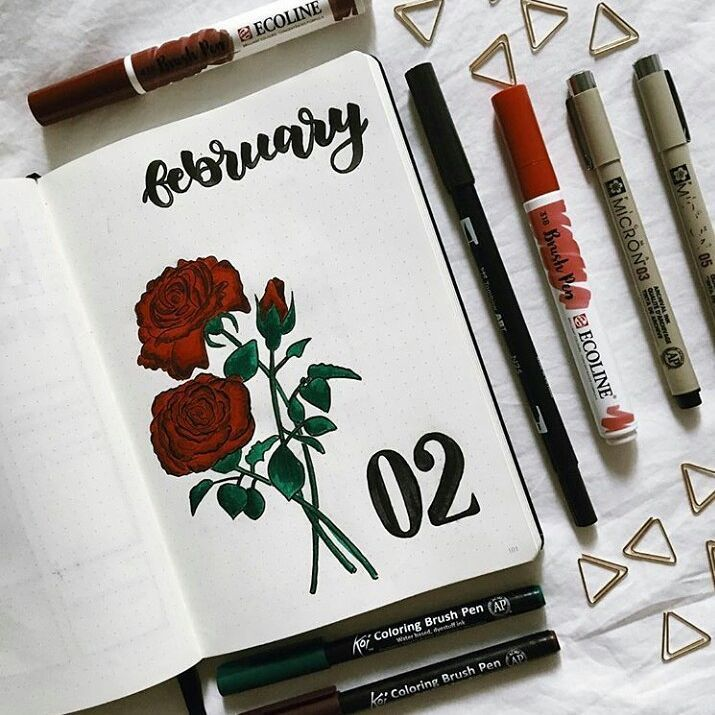 Bullet journal monthly cover page, February cover page, rose drawing, flower drawing. | @phoebe.studies