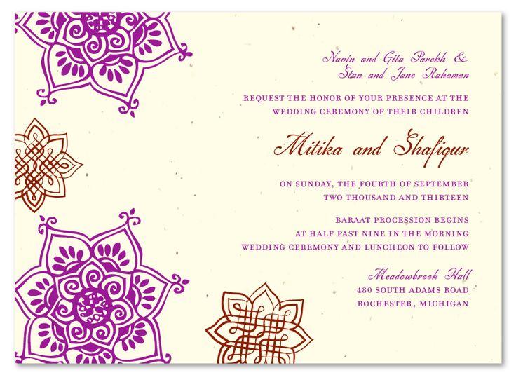 Indian Flowers Plantable Purple Wedding ReceptionsWedding Reception InvitationsHindu