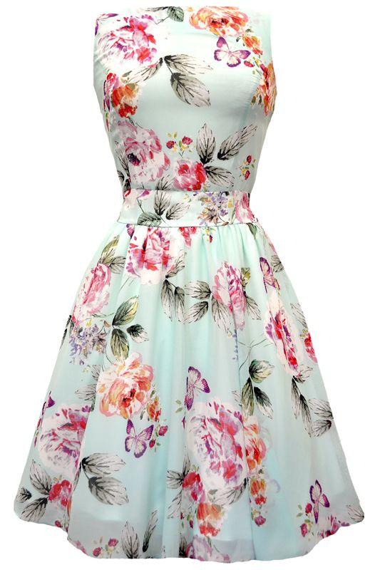 Cool Mint Floral Chiffon Tea Dress