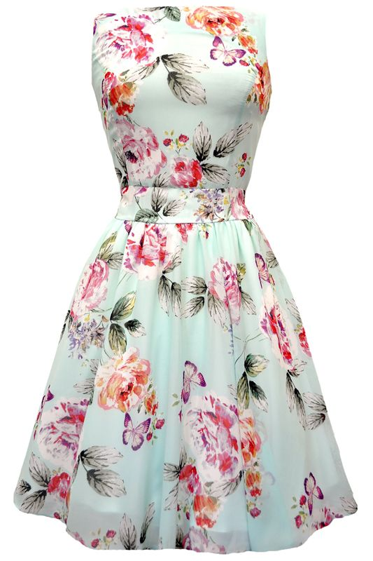 Cool Mint Floral Chiffon Tea Dress