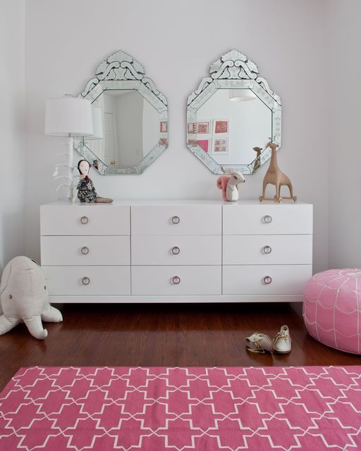 double mirrors over maci's dresser. Madeline Weinrib Hot Pink Brooke Cotton Carpet, interior by Sissy + Marley.