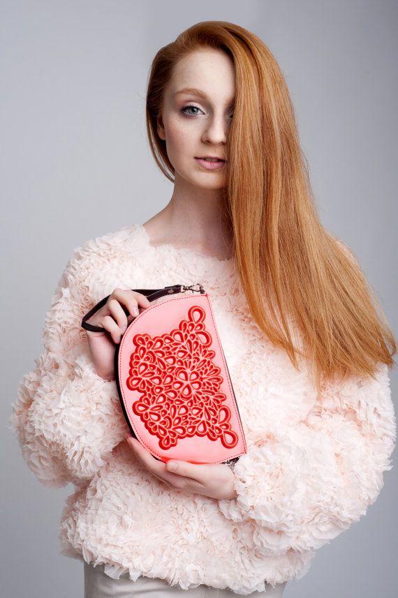 Womens wristlet / red vegan wristlet / vinyl embossed floral print / both wallet & clutch / change pocket w/ zipper / 20 credit card slots