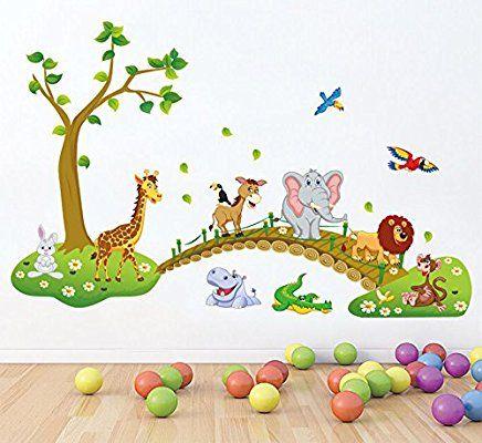 Hallobo Xxl Wandsticker Wandtattoo Kinderzimmer Wald Tierbrucke