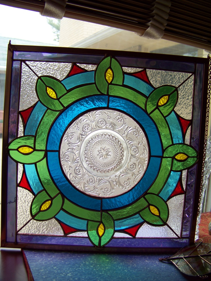 Depression glass plate stained glass panel by Glitz & Grandeur