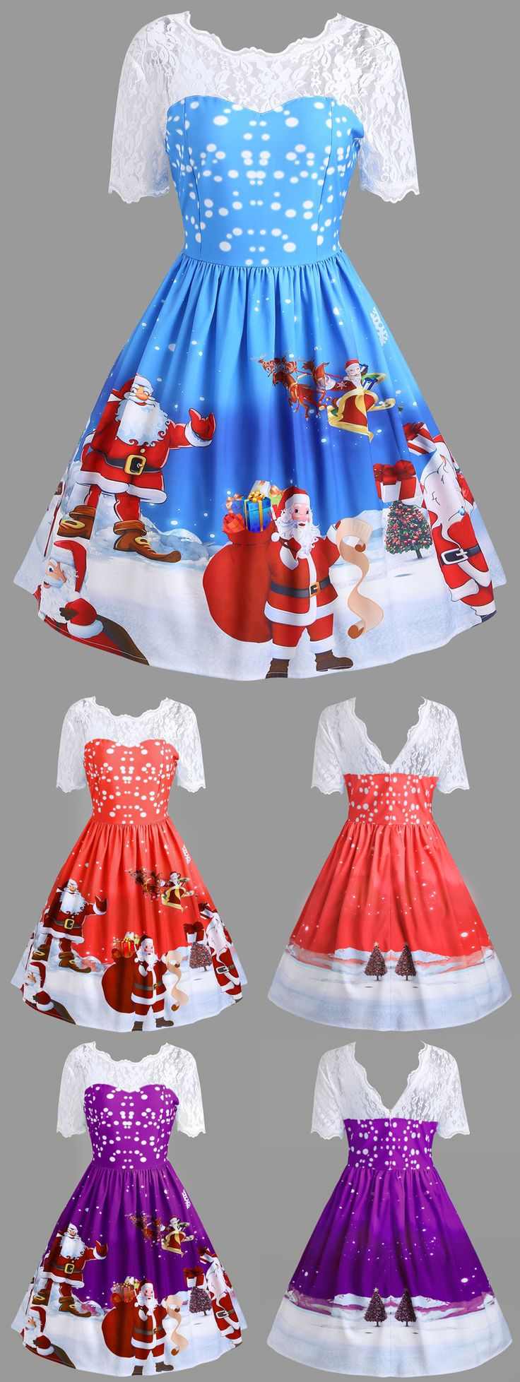#MerryChristmas $13.44 | Vintage Christmas Santa Claus Print Lace Insert Dress | Sammydress.com